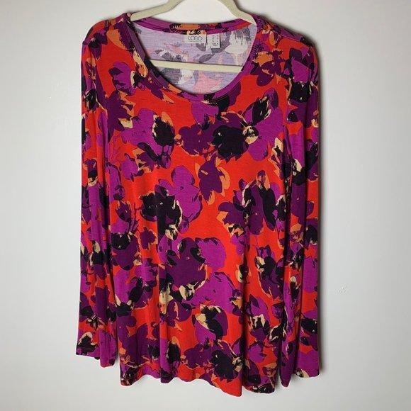 LOGO Lori Goldstein Printed Knit Tunic Top Medium